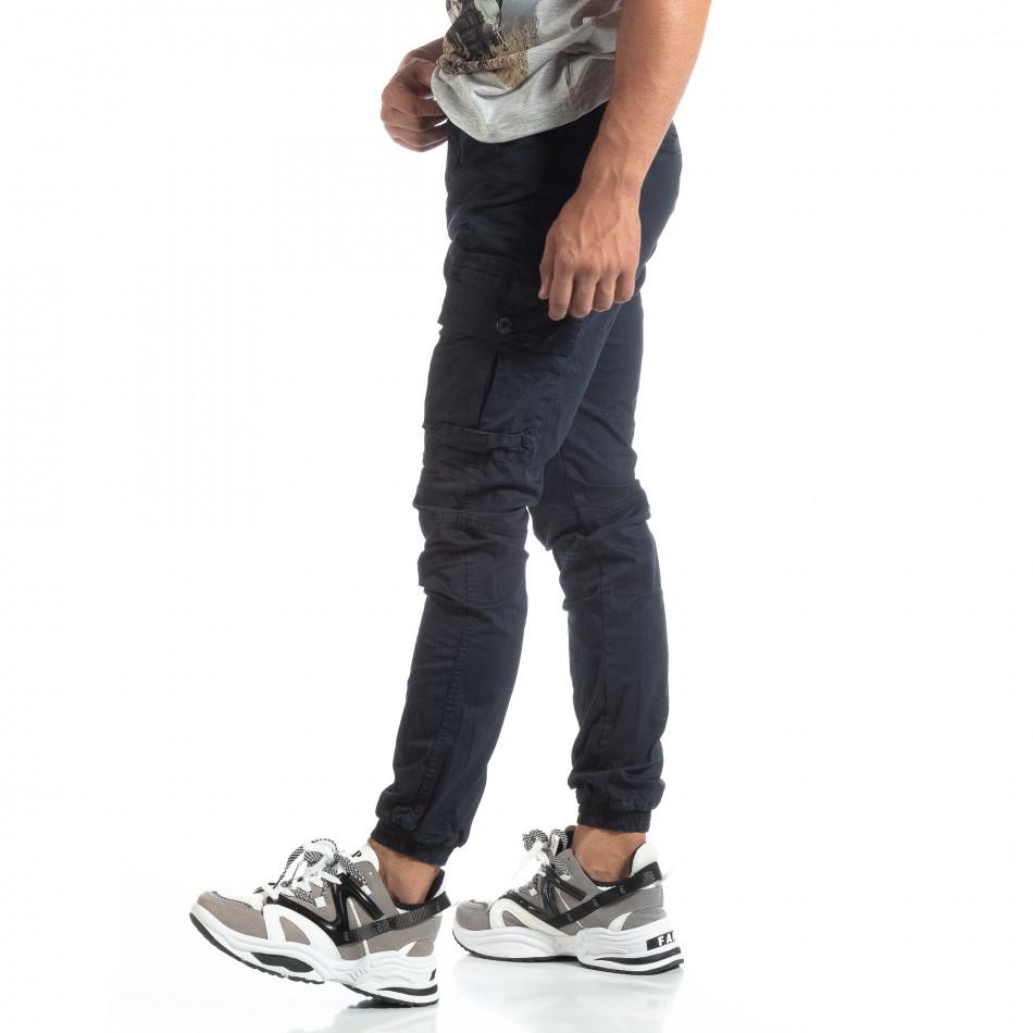 Мъжки син рокерски панталон с карго джобове it170819-5