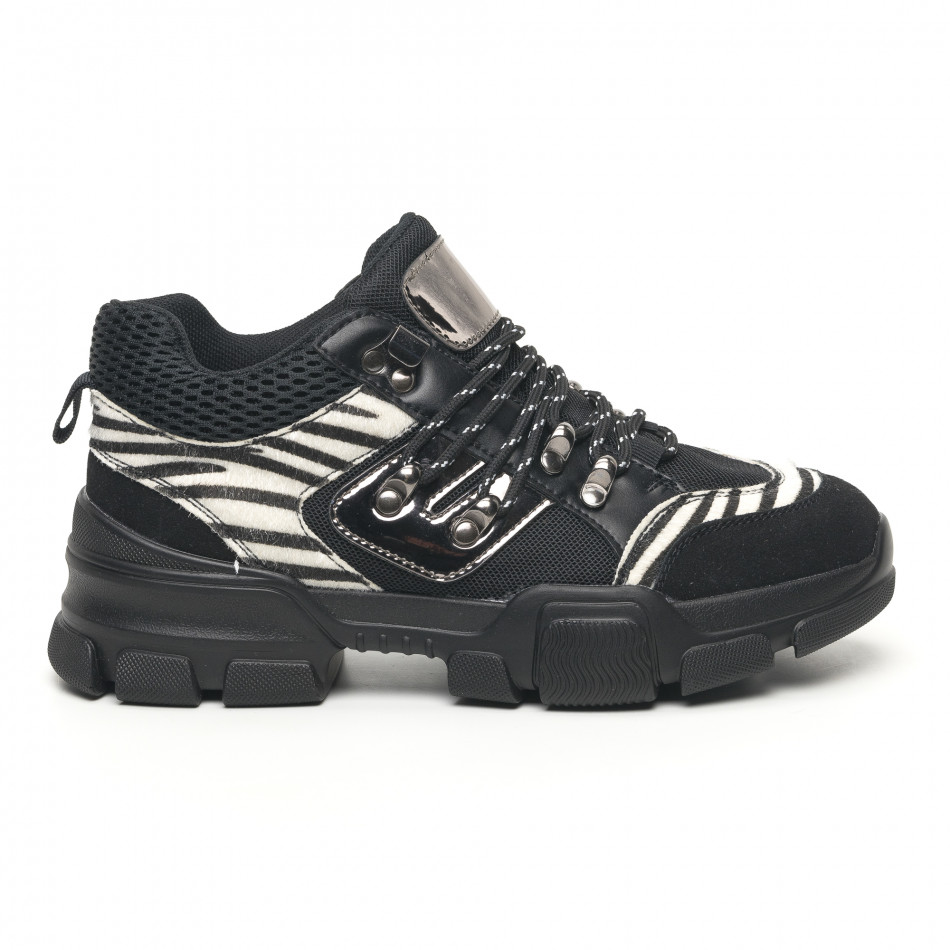 Дамски спортни обувки тип Hiker черно и зебра it281019-28