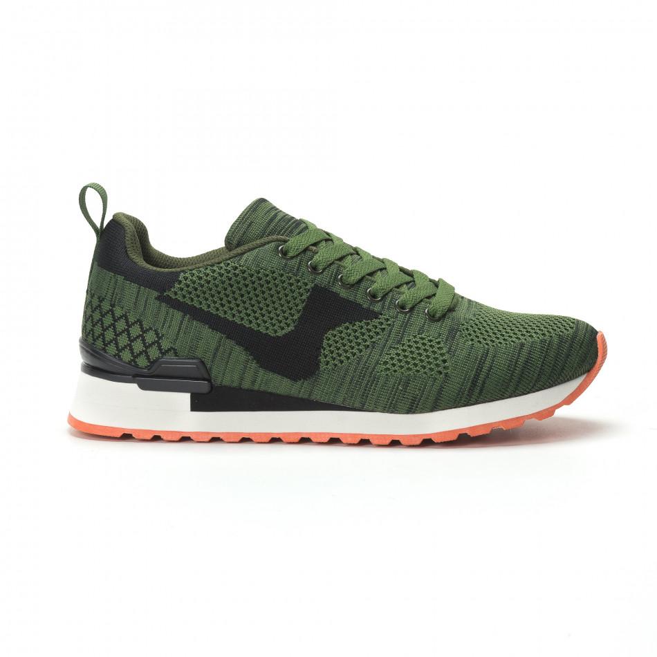 Плетени мъжки маратонки в зелено с ярък акцент it250119-6