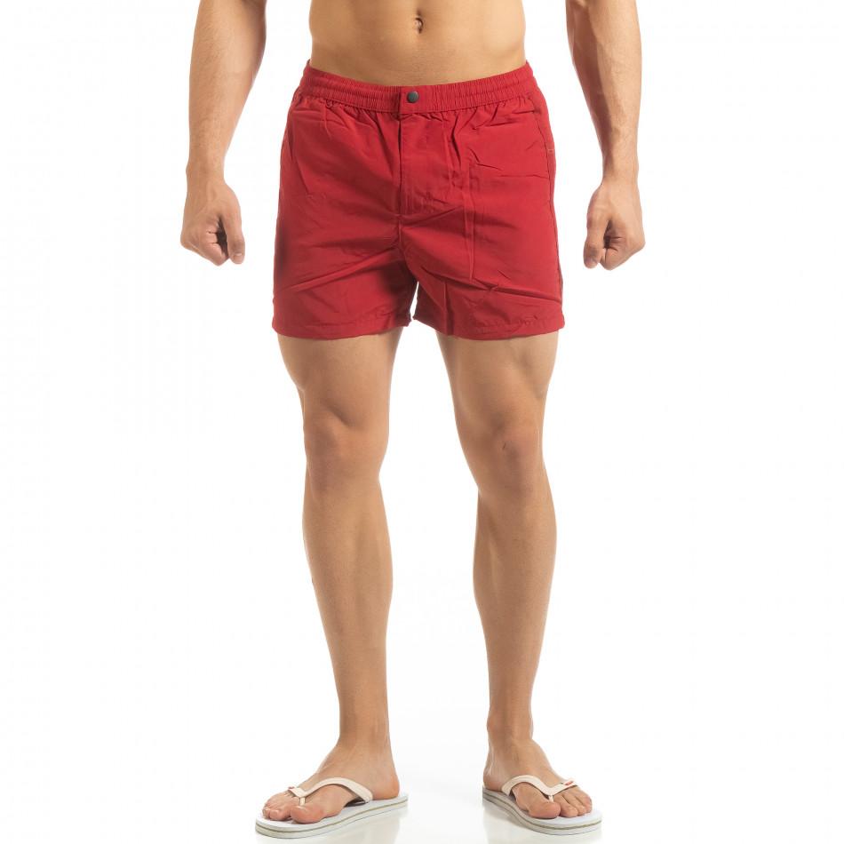 Мъжки червен бански със закопчаване it090519-77