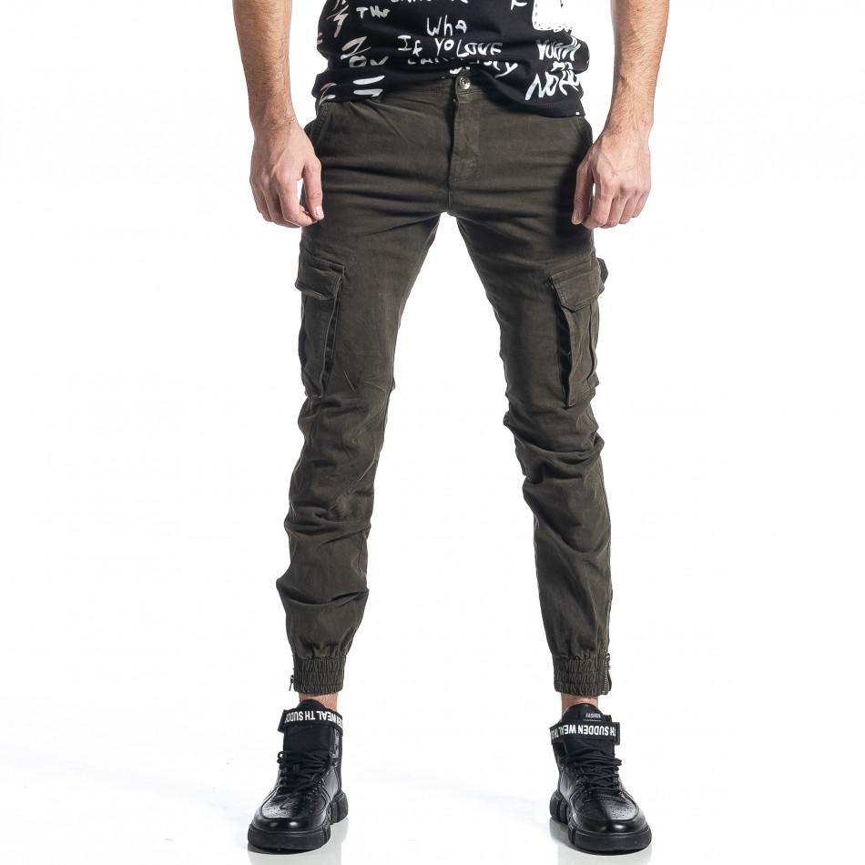 Зелен панталон Cargo Jogger с ципове на крачолите it010221-45