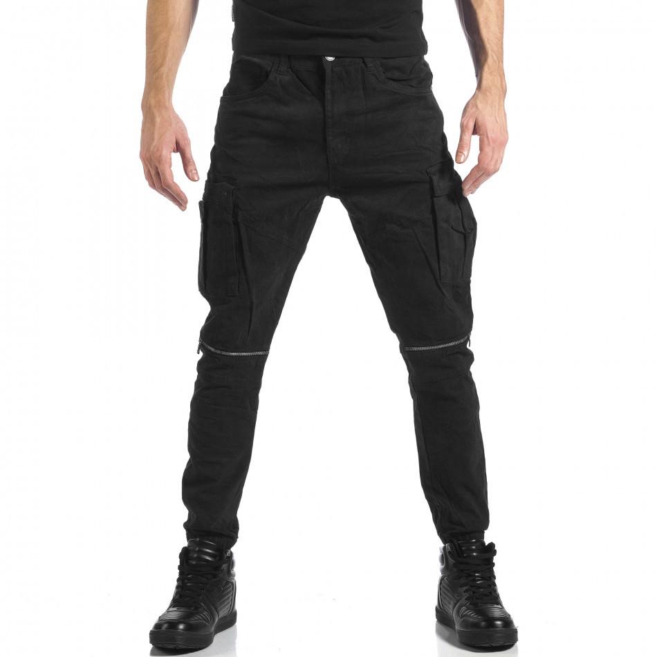 Мъжки черен карго панталон с ципове it041217-43