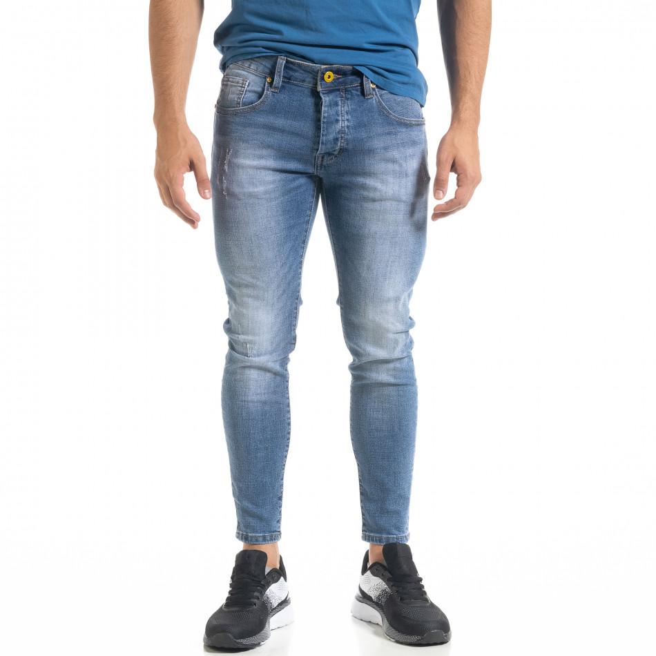 Мъжки сини скъсени дънки Capri fit it080520-60