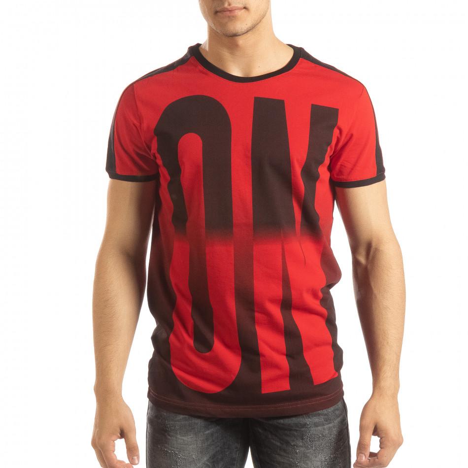 Червена мъжка тениска ON/OFF с преливане it150419-51