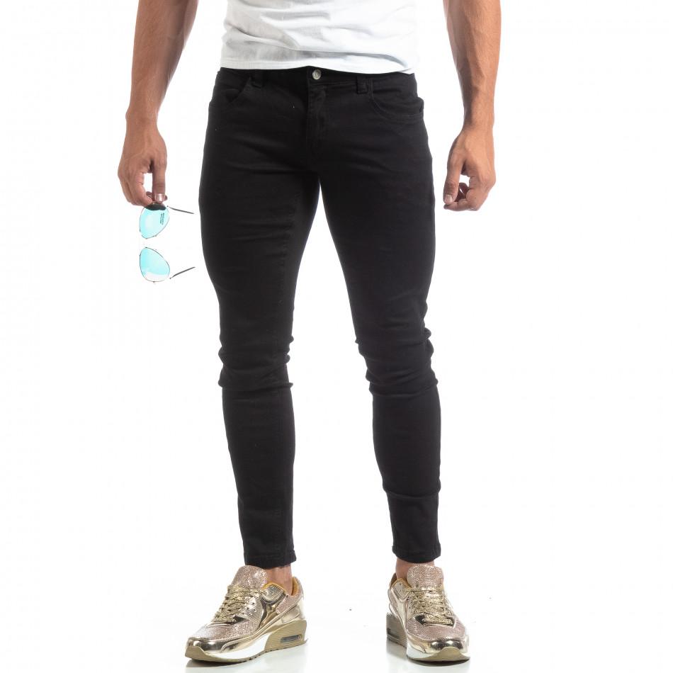 Тънки мъжки черни дънки Skinny fit  it170819-41