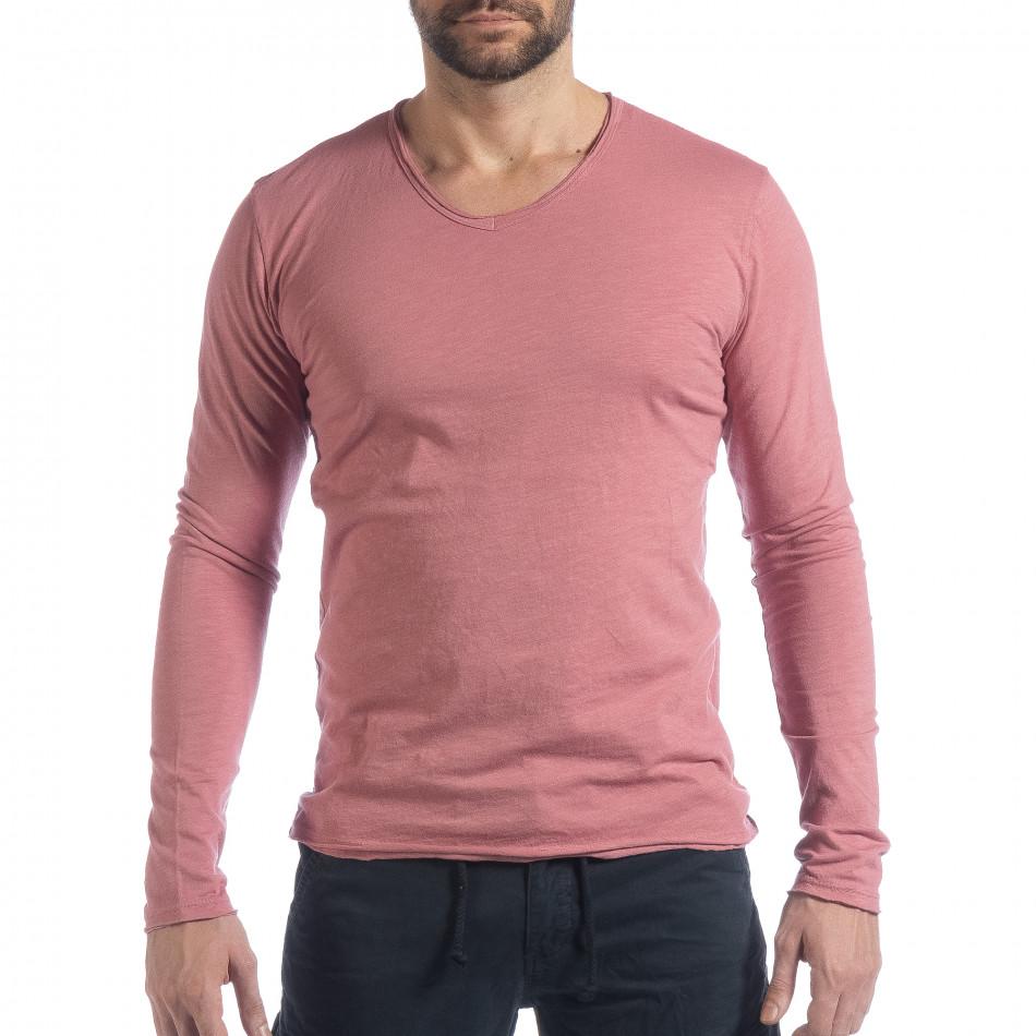 Мъжка блуза V-neck в розово it040219-86