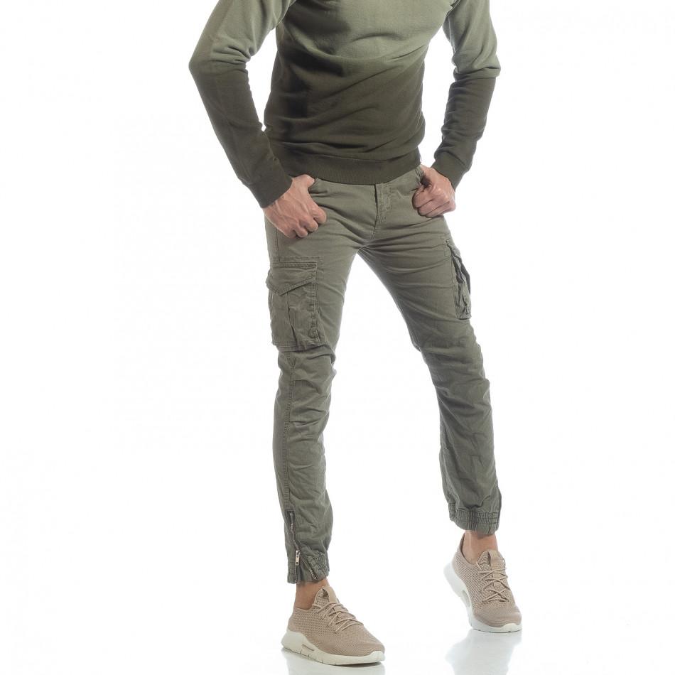 Мъжки зелен Cargo Jogger с място за аксесоар it040219-33
