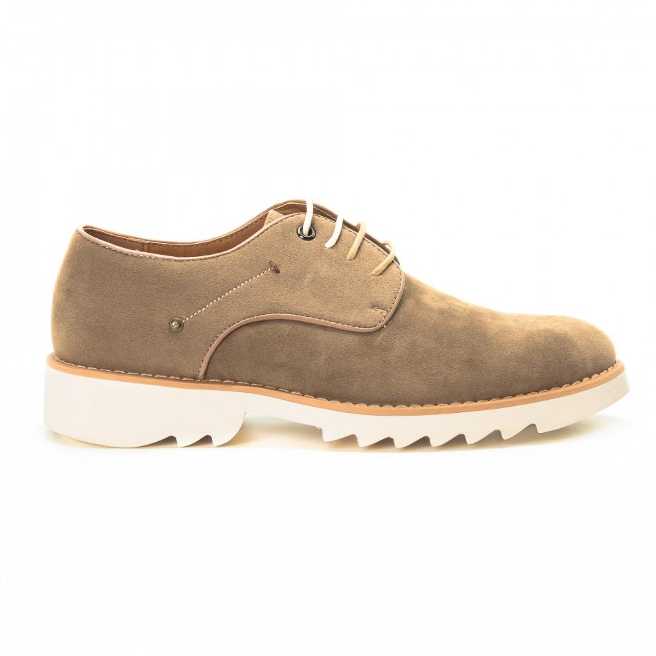 Casual мъжки обувки в бежов велур it221018-13
