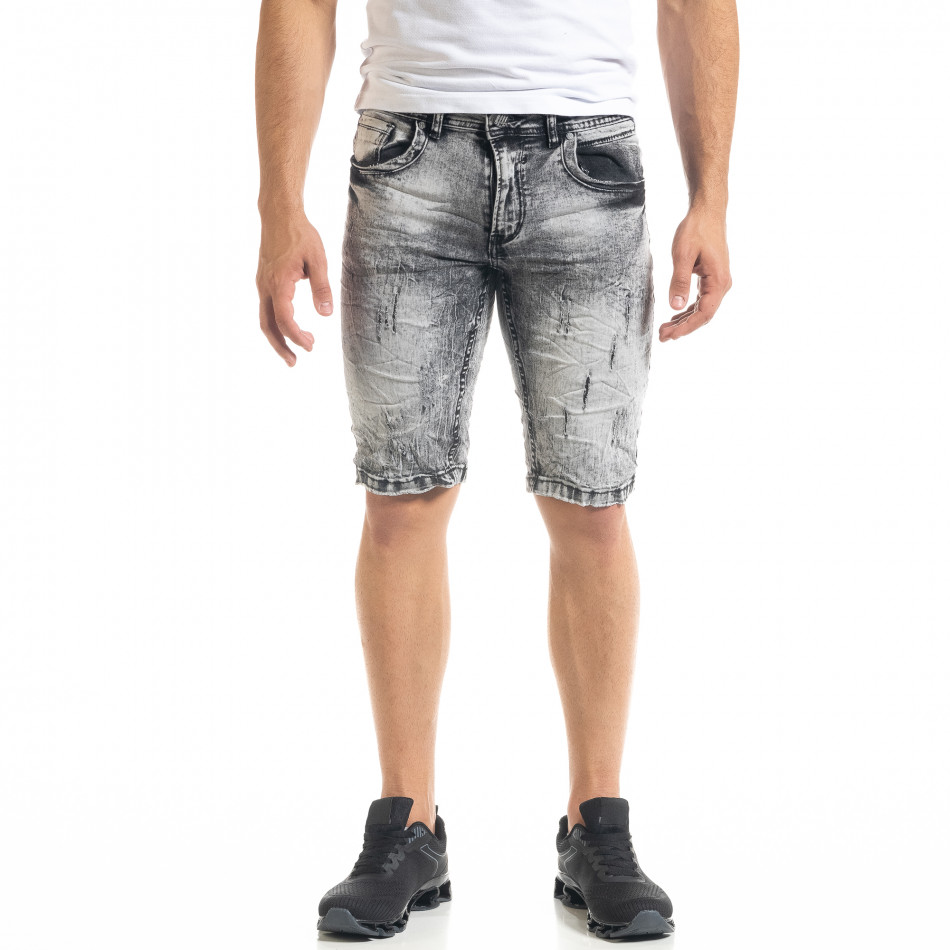 Slim fit мъжки къси дънки Washed черно it050620-6
