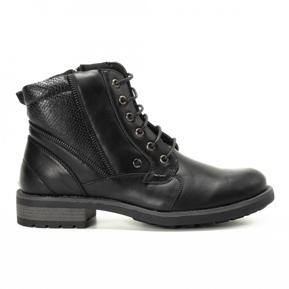 Мъжки черни боти с детайл от шагрен it221018-11