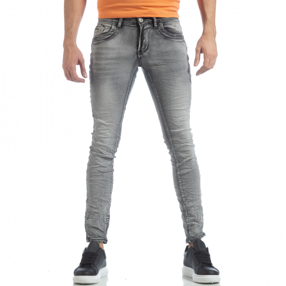 Мъжки Washed Slim Jeans в сиво it040219-14
