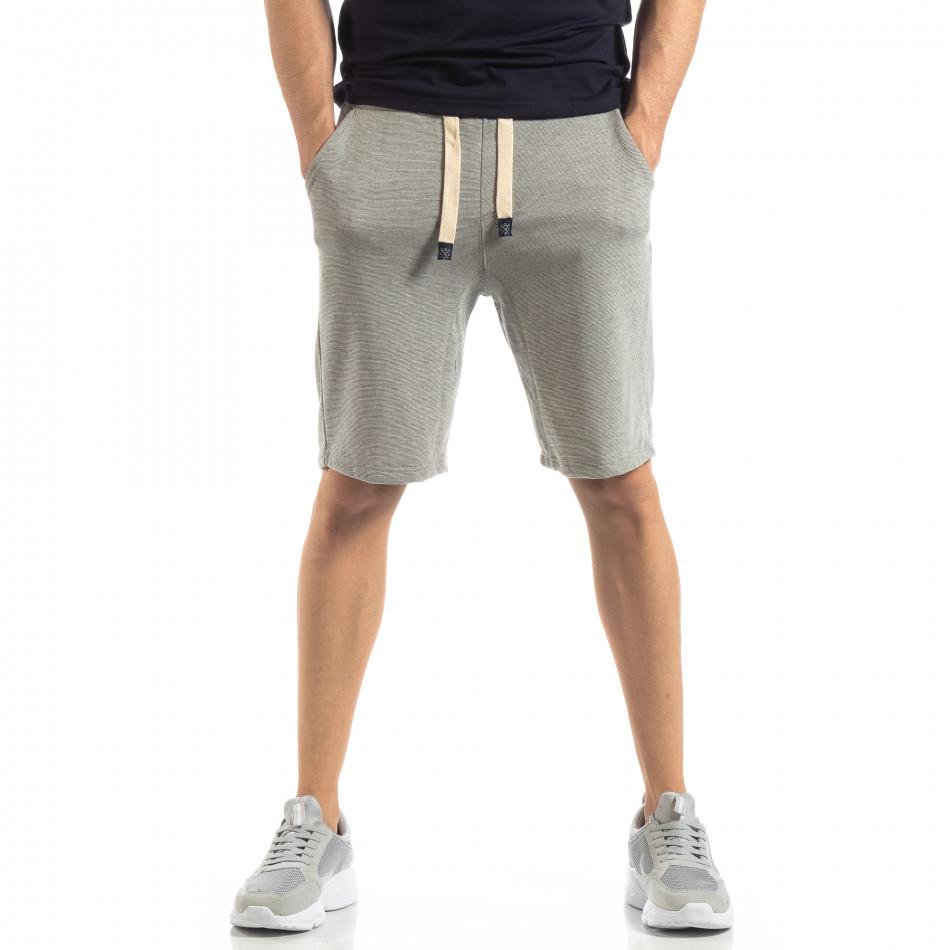 Мъжки сиви шорти на тънко райе it210319-65