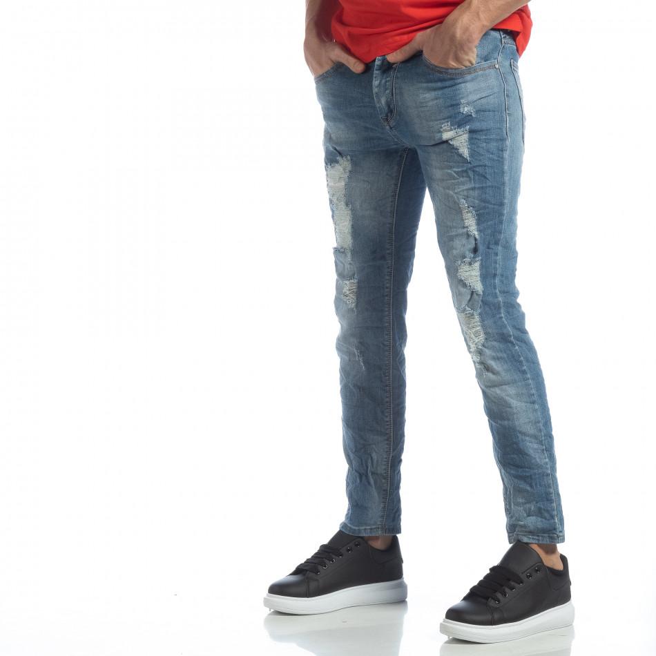 Мъжки сини дънки с големи прокъсвания it040219-22