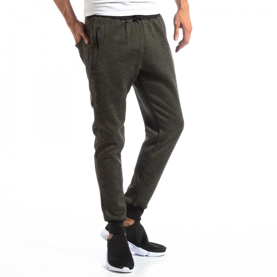 Мъжки Jogger в зелен меланж it250918-36
