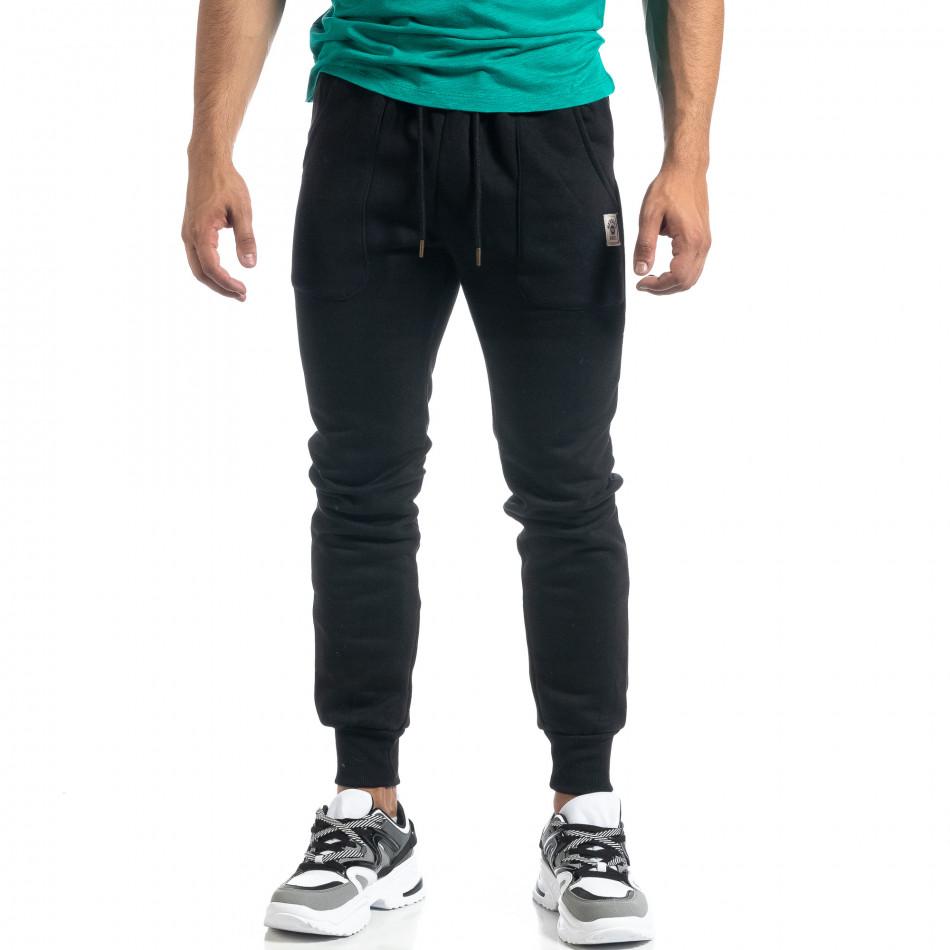 Мъжко черно долнище с апликирани джобове it041019-12