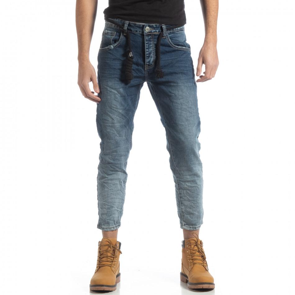 Мъжки сини дънки с избелял ефект it051218-13