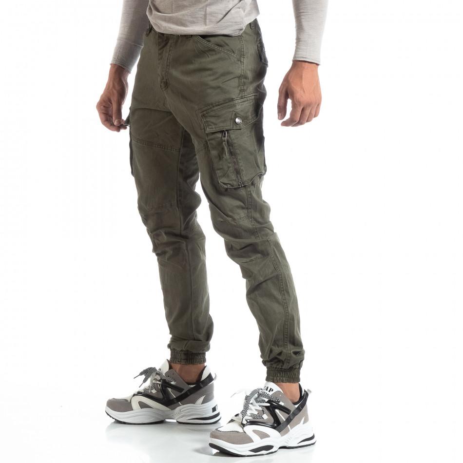 Зелен мъжки панталон с ципове на джобовете it170819-3