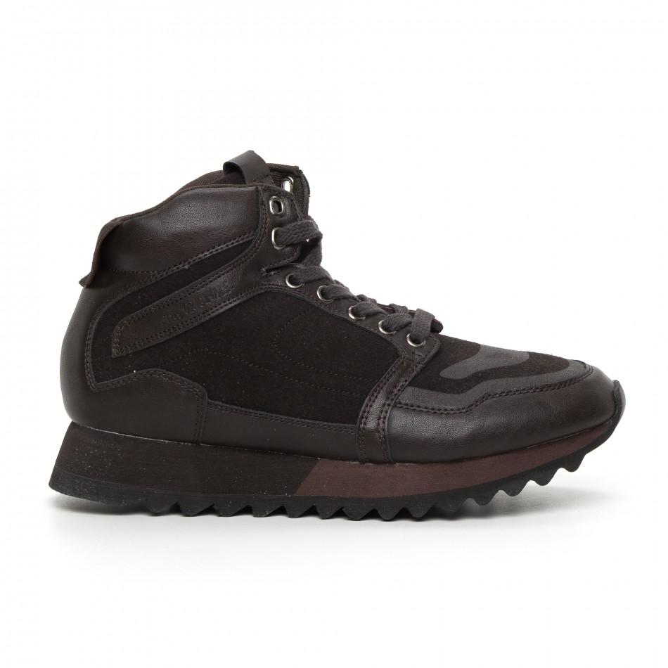 Мъжки високи спортни обувки в кафяво it130819-26