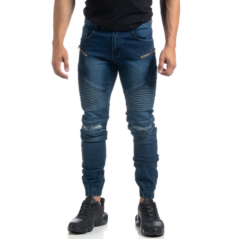 Мъжки дънки Biker Jogger с кръпки it041019-24