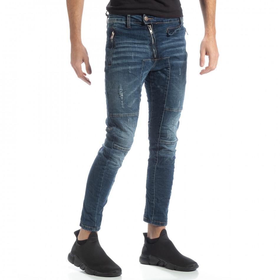 Намачкани мъжки сини дънки Biker style it051218-9