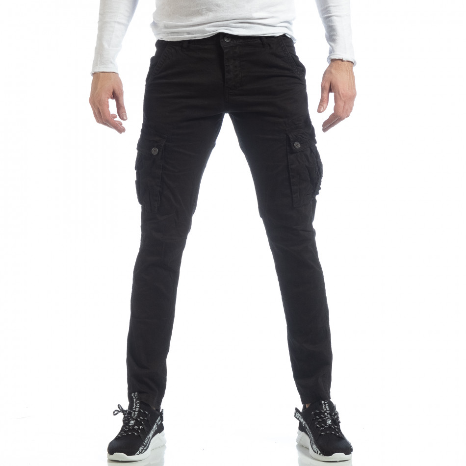 Черен мъжки панталон с карго джобове it040219-40