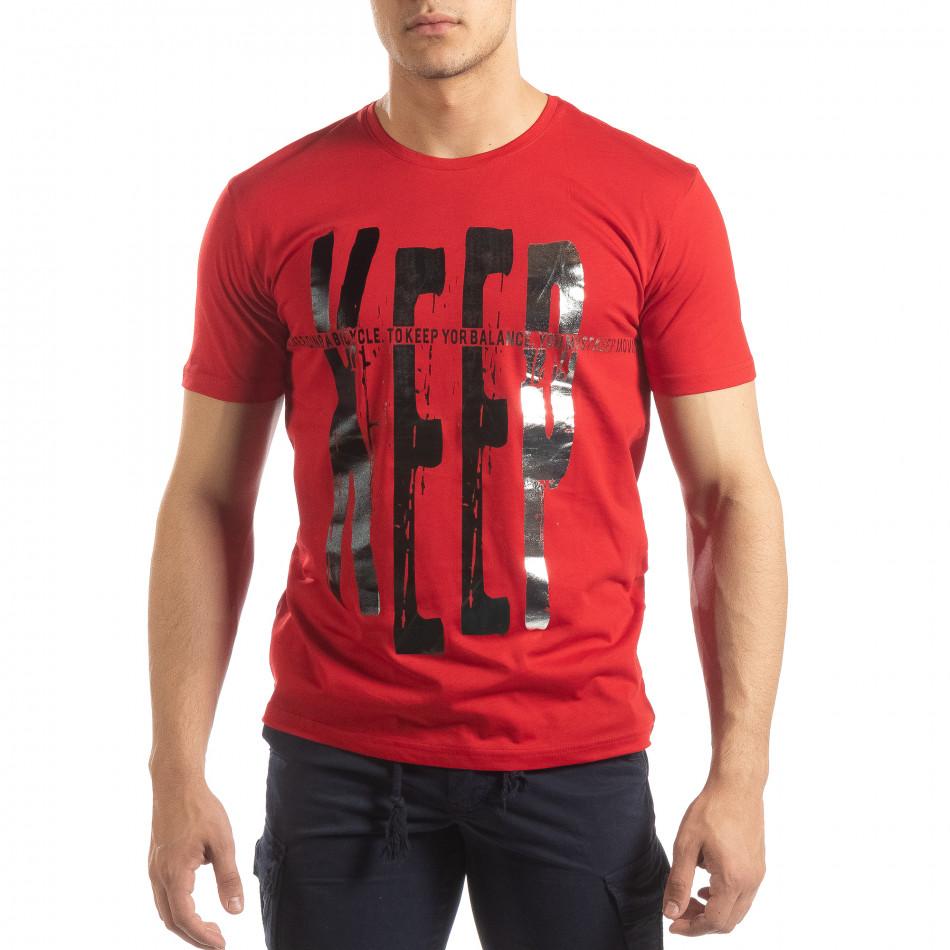 Червена мъжка тениска сребрист принт it150419-91