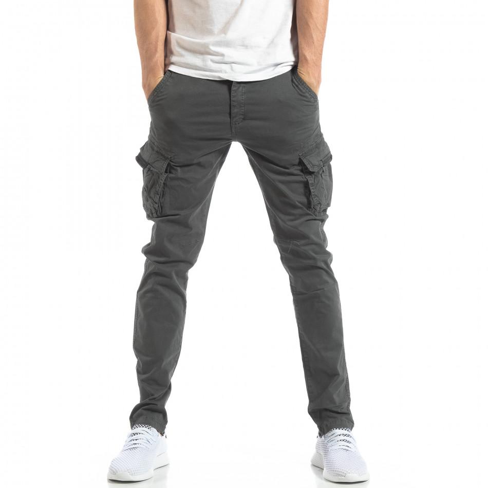 Мъжки панталон тип карго в тъмно сиво it210319-24