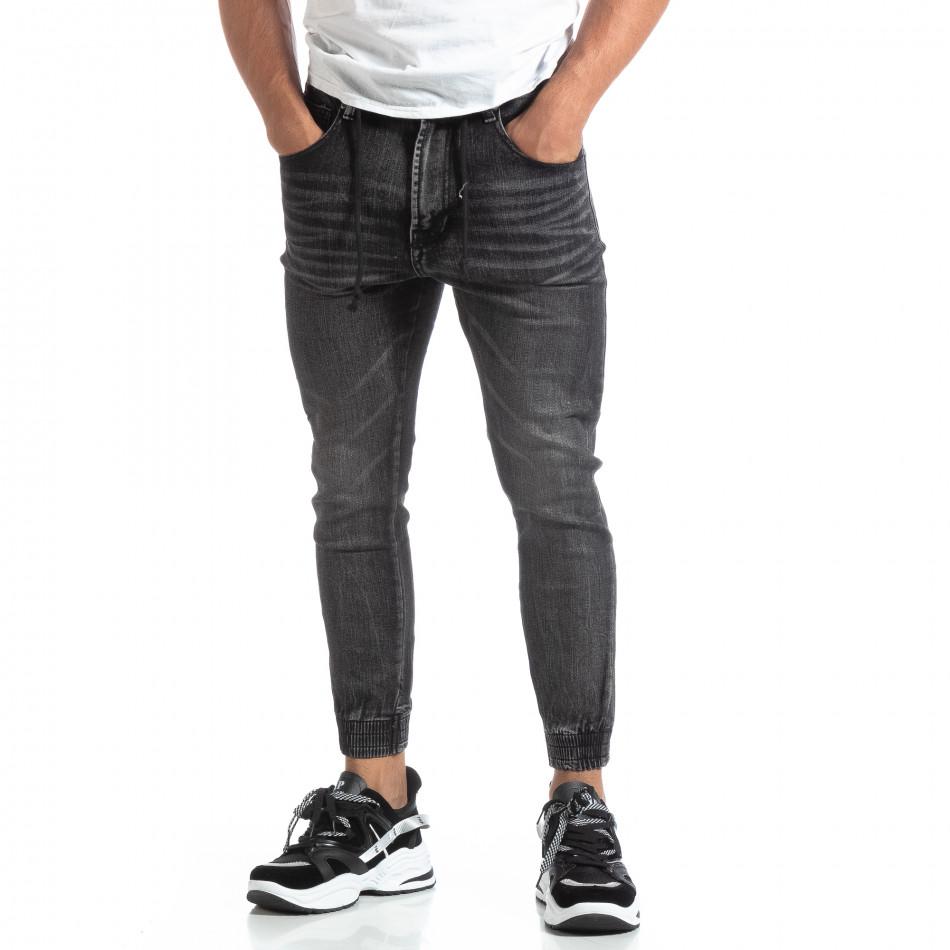 Мъжки черни джогър дънки Loose fit it170819-59