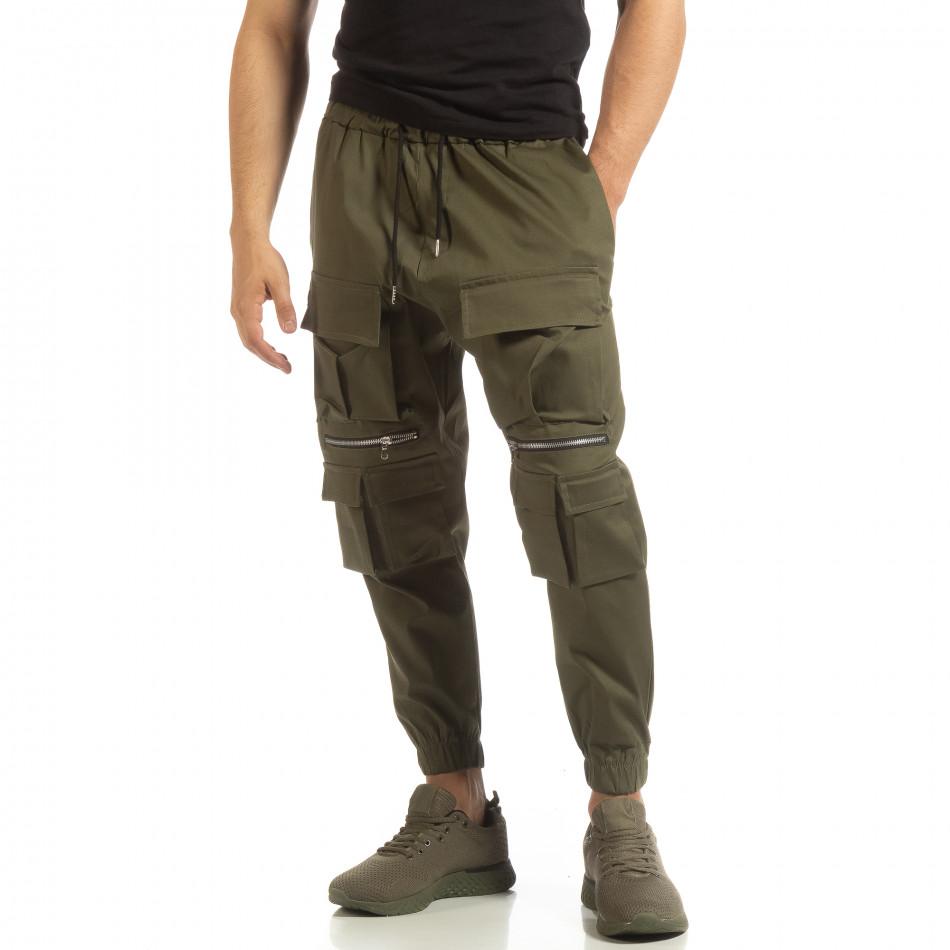 Cropped мъжки зелен панталон с джобове it090519-19