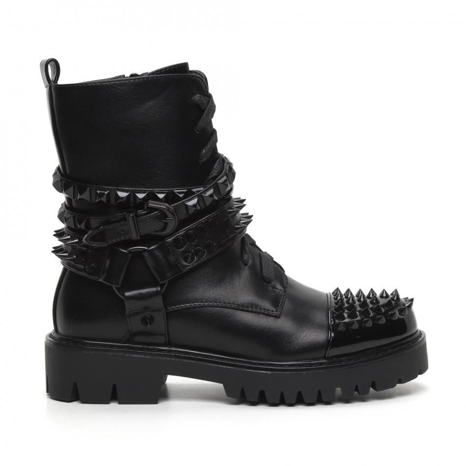 Рокерски дамски черни боти полирана кожа it260919-89