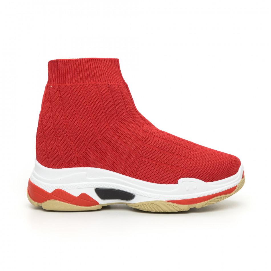 Дамски плетени Slip-on маратонки в червено it130819-46