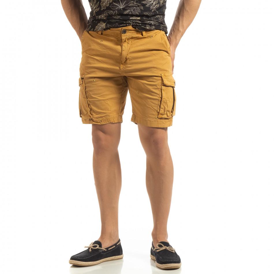 Къси карго панталони в камел с детайл it090519-30