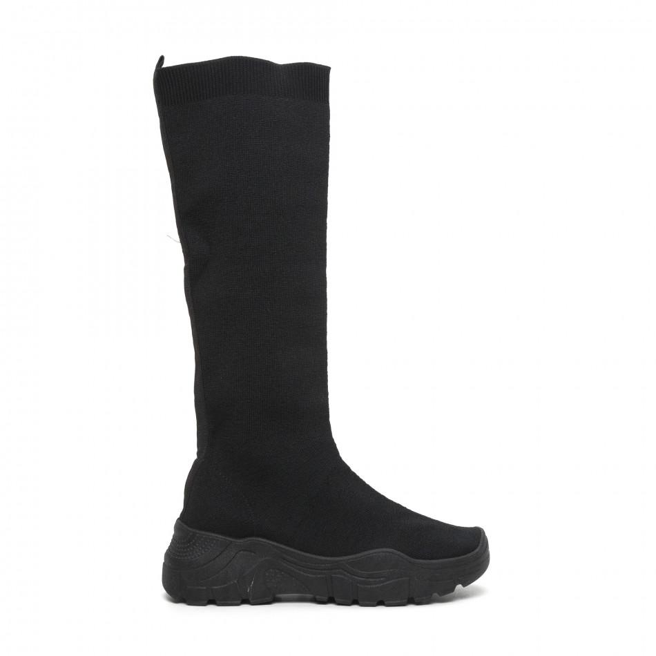 Дамски черни ботуши тип чорап it260919-65