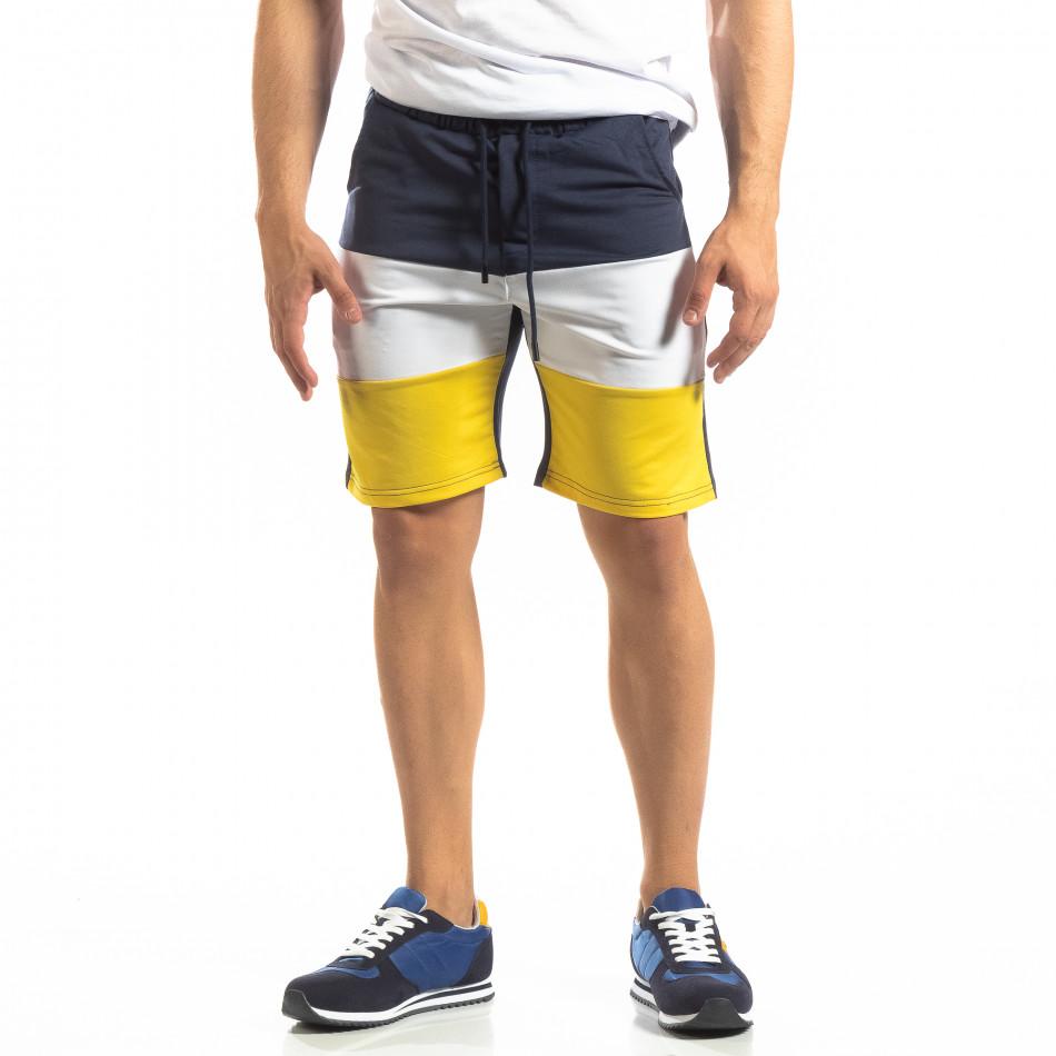 Сини мъжки шорти с бяло и жълто it150419-30
