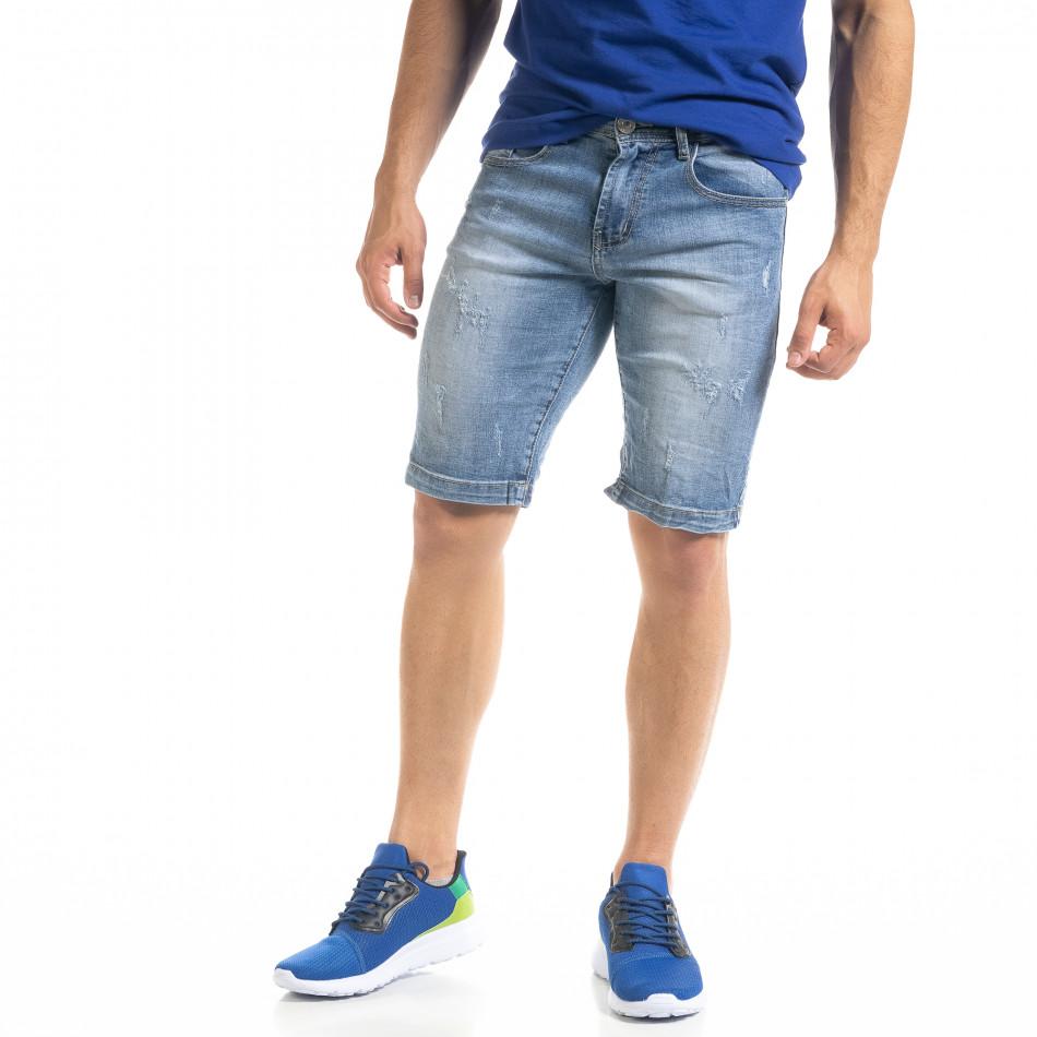 Мъжки сини къси дънки с прокъсвания it050620-9