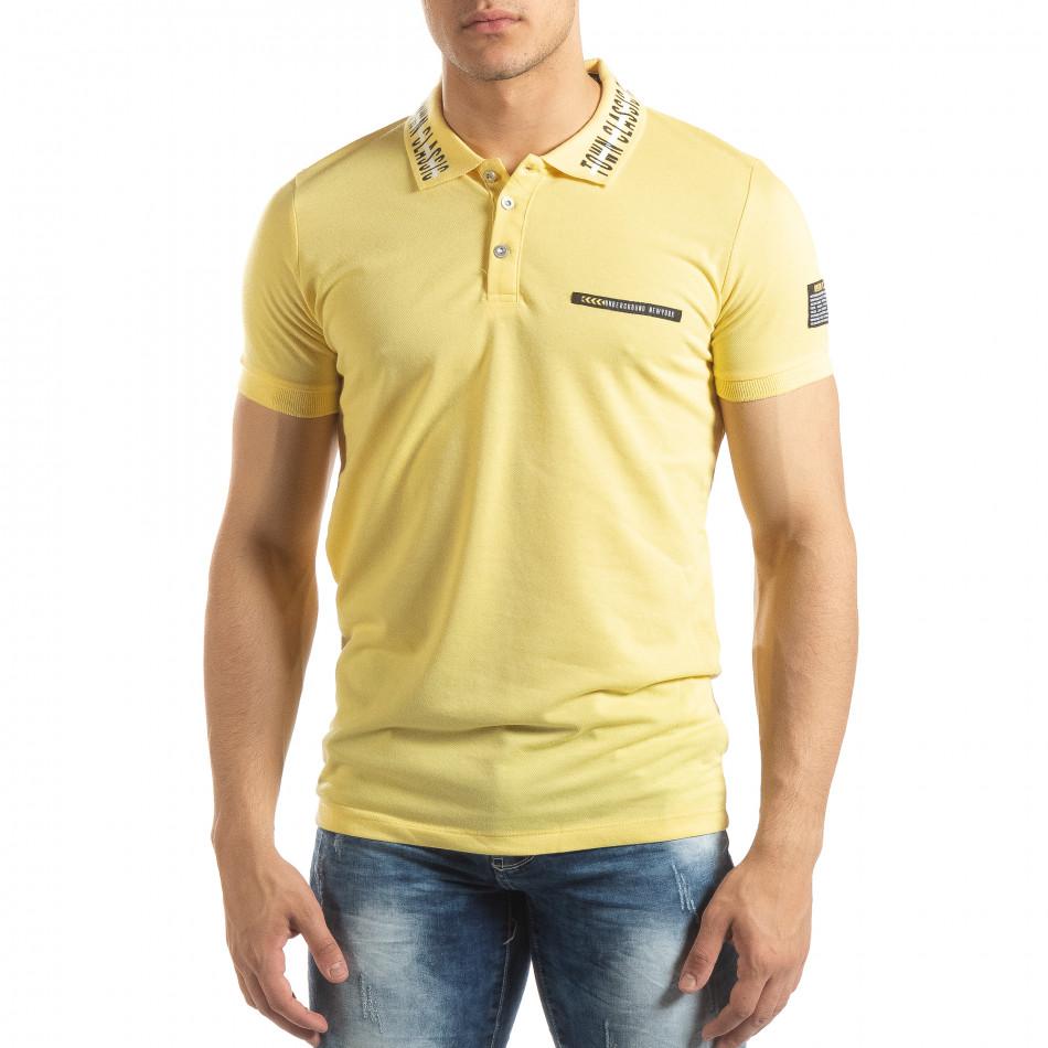 Жълта мъжка тениска с принт на яката it150419-99