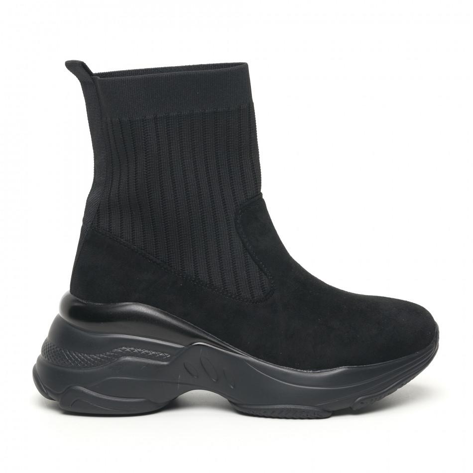 Дамски черни маратонки тип чорап с обемна подметка it281019-19