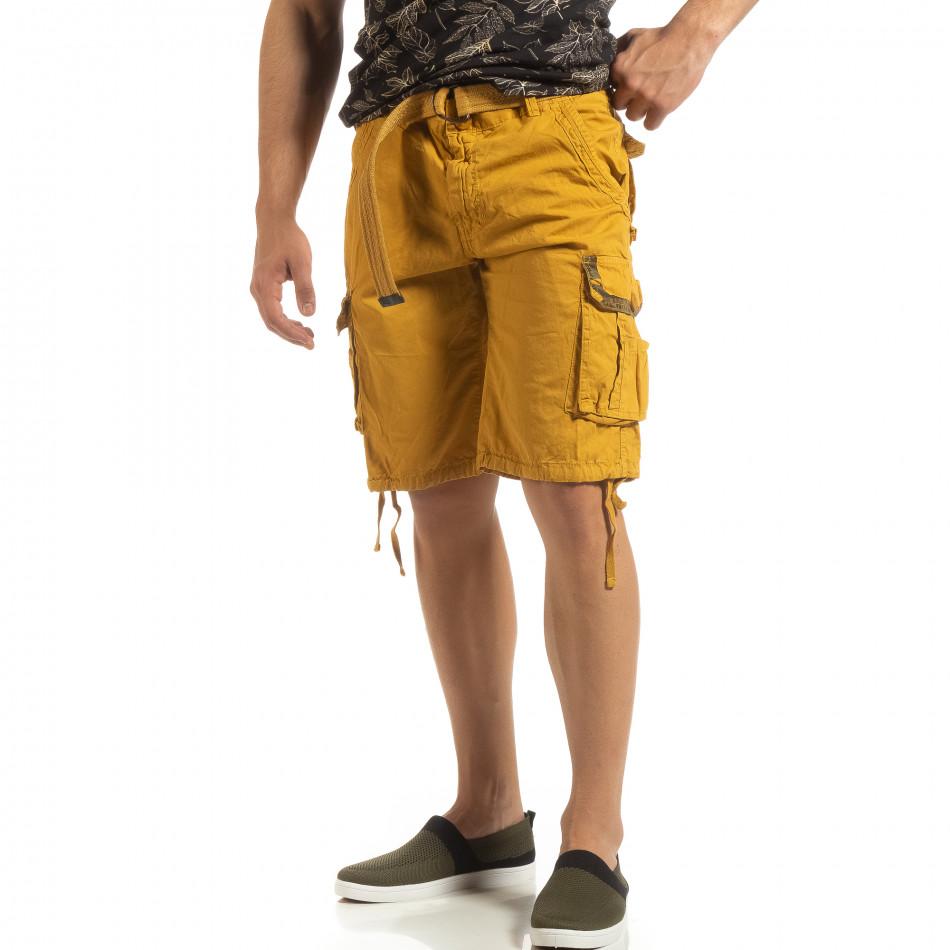 Мъжки карго бермуди камел с колан it090519-40
