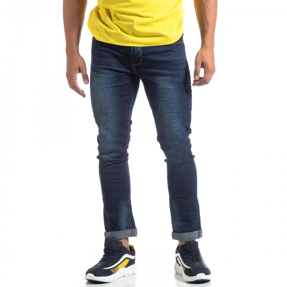 Мъжки изтъркани дънки Slim fit в синьо it170819-45