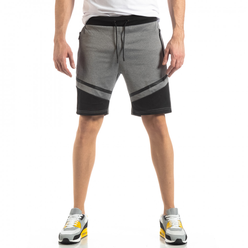 Мъжки шорти в сиво с черен акцент it210319-67