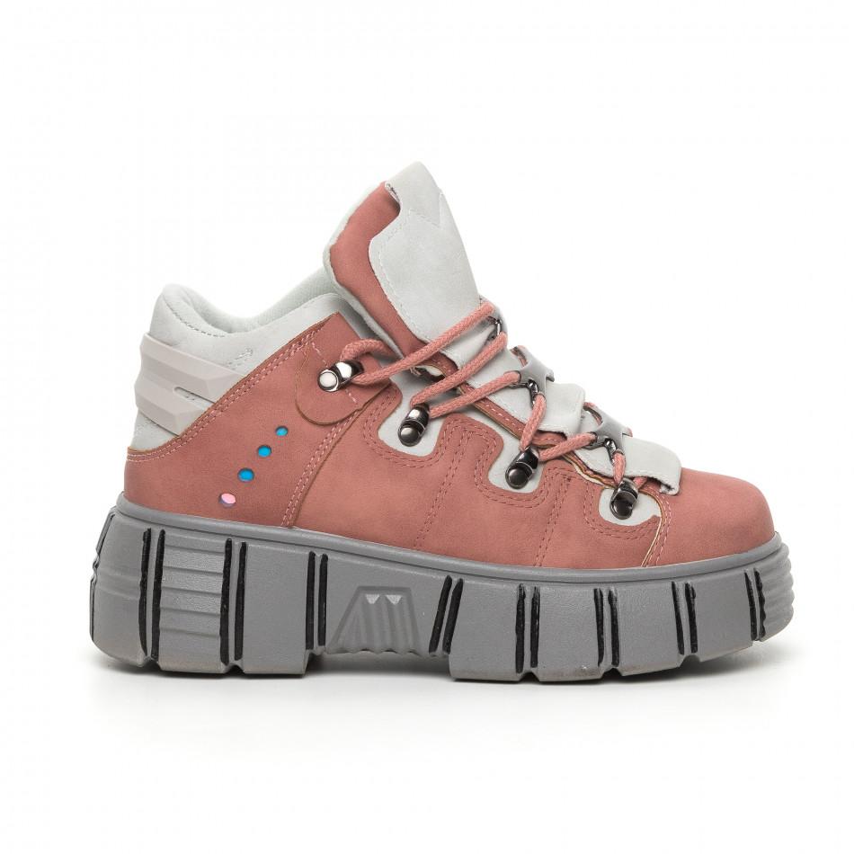 Дамски розови боти на платформа Trekking design it130819-72