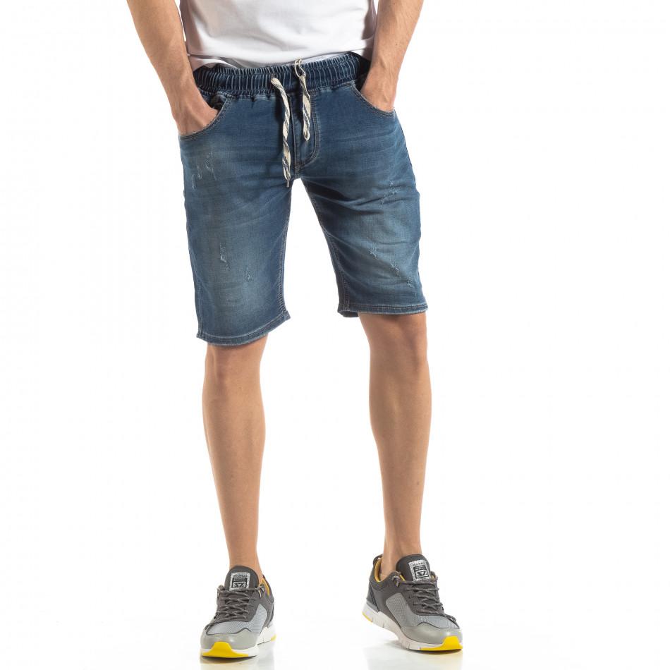 Къси мъжки дънкови шорти в синьо it210319-32