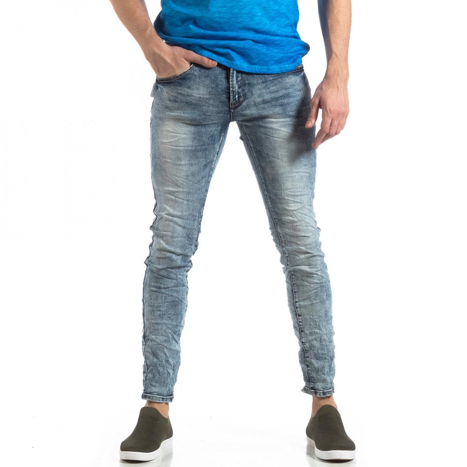Намачкани Washed Slim Jeans в синьо it210319-13
