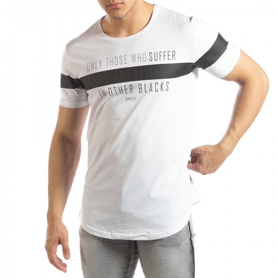 Мъжка удължена тениска в бяло it150419-93