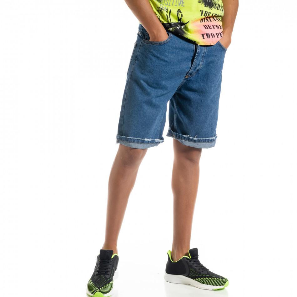 Loose fit мъжки сини дънкови бермуди it010720-14