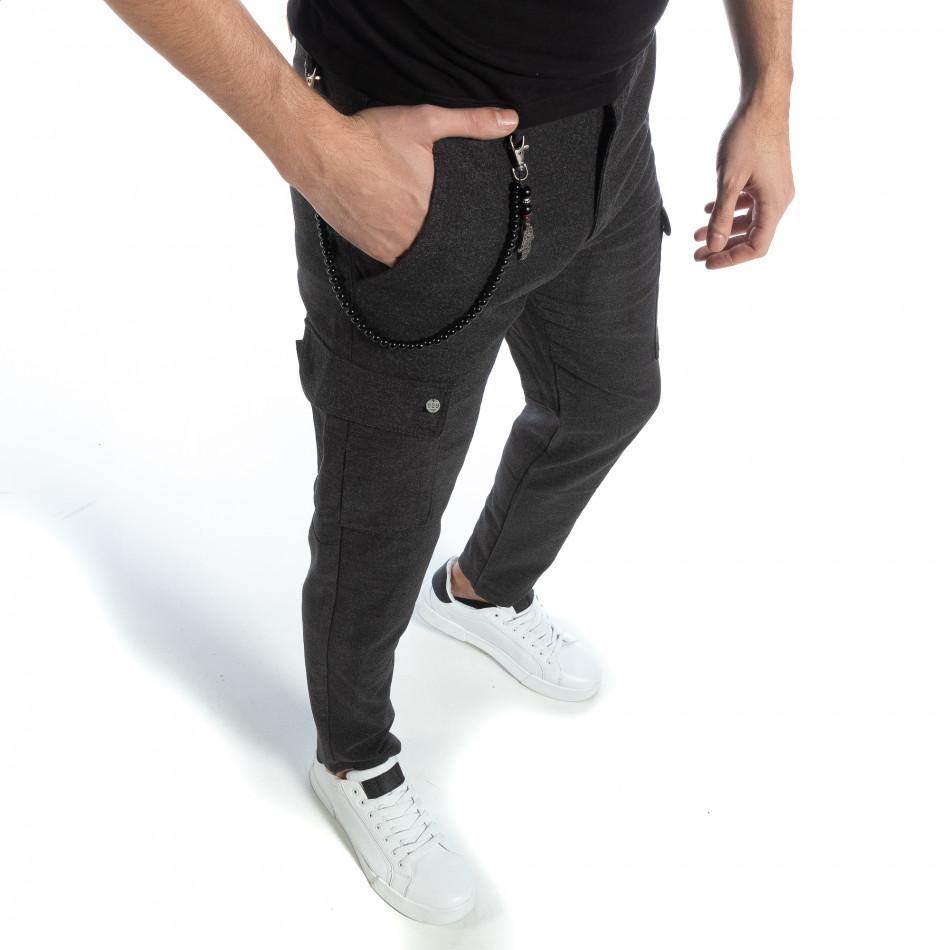 Мъжки фин панталон в сив меланж it040219-42