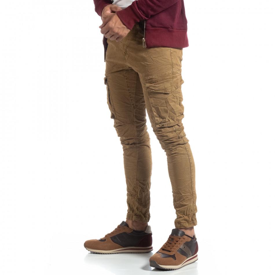 Каки мъжки карго панталон с прави крачоли it170819-14