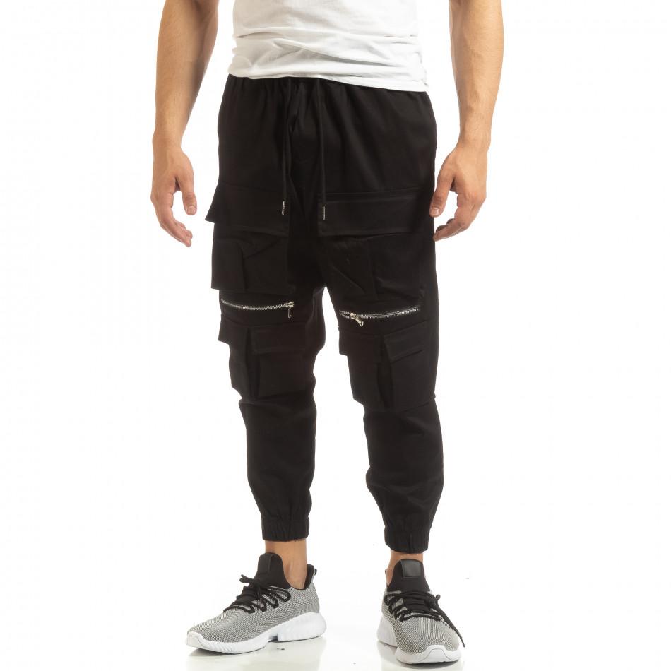 Cropped мъжки черен панталон с джобове it090519-20
