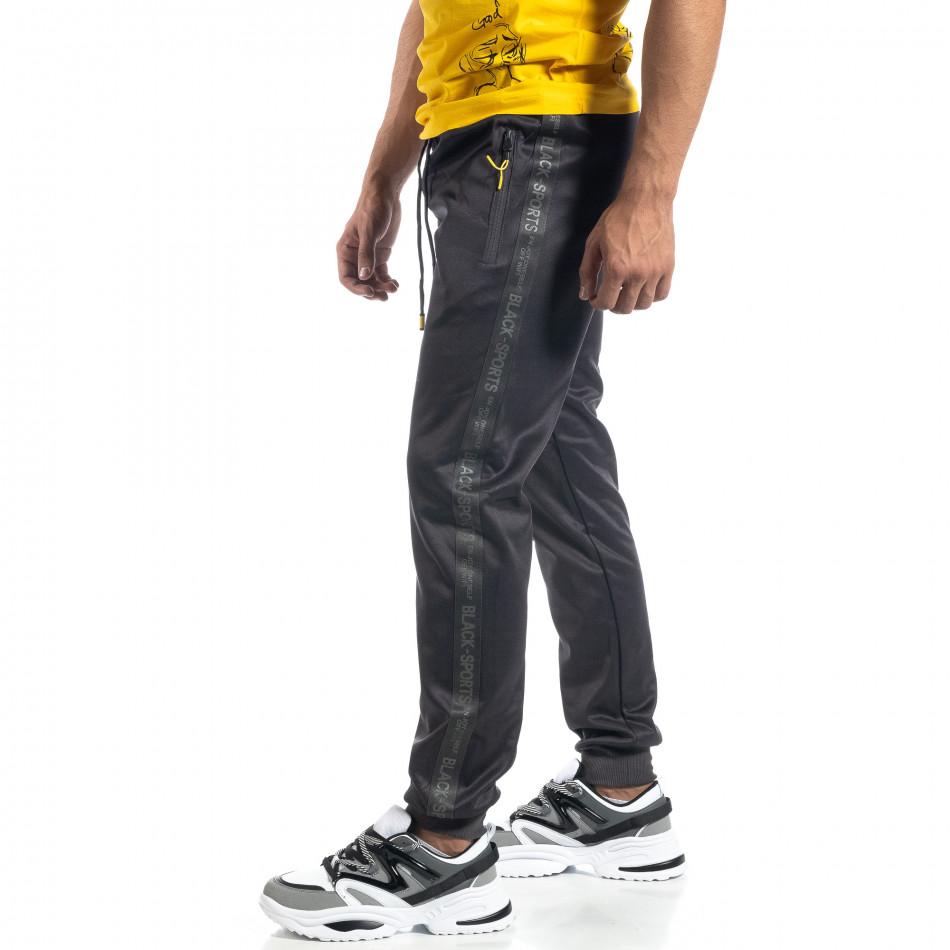 Сив мъжки джогър с принт кант Black Sport it041019-2