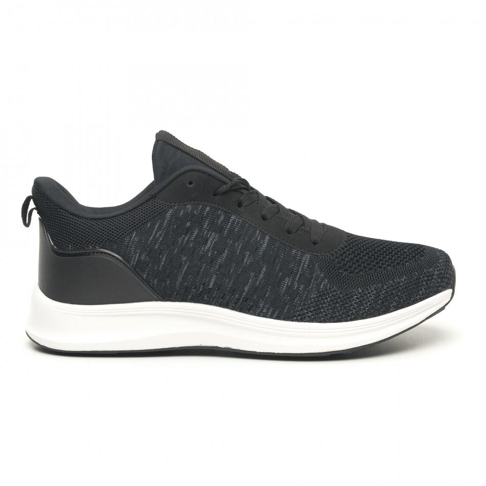 Мъжки олекотени маратонки черен меланж it251019-7
